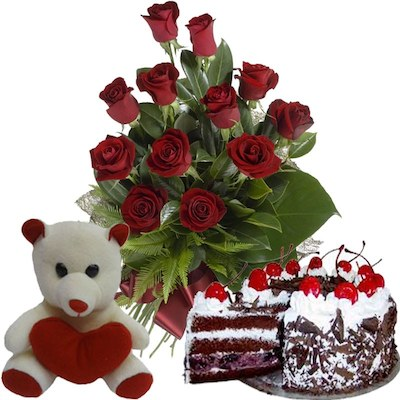 Teddy Bear Red Roses Birthday Cake