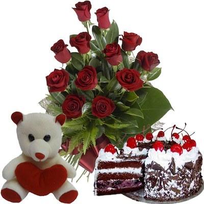 Teddy Bear Red Roses Birthday Cake
