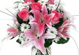Pinky Lilies & Roses in Vase