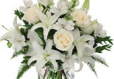 White Lilies, White Roses with White Orchids
