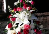 White Lilies-Red & White Roses-Pink Carnations in Basket